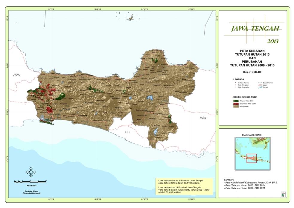 Peta Sebaran Tutupan Hutan 2013 dan Perubahan Tutupan Hutan 2009 - 2013