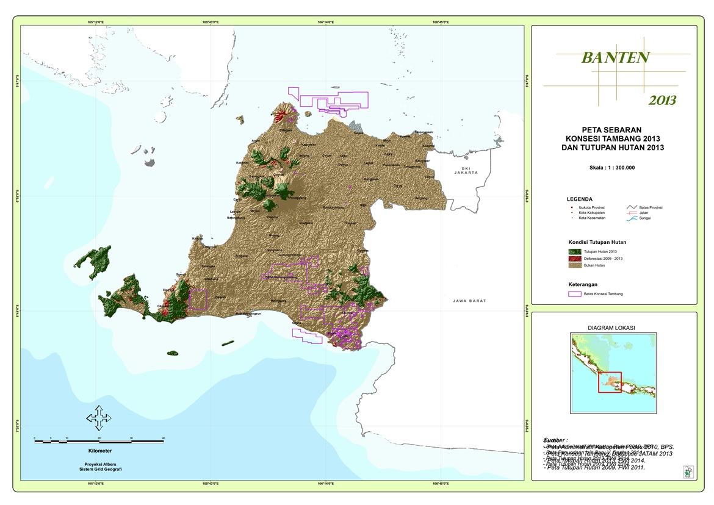 Peta Sebaran Konsesi Tambang 2013 dan Tutupan Hutan 2013