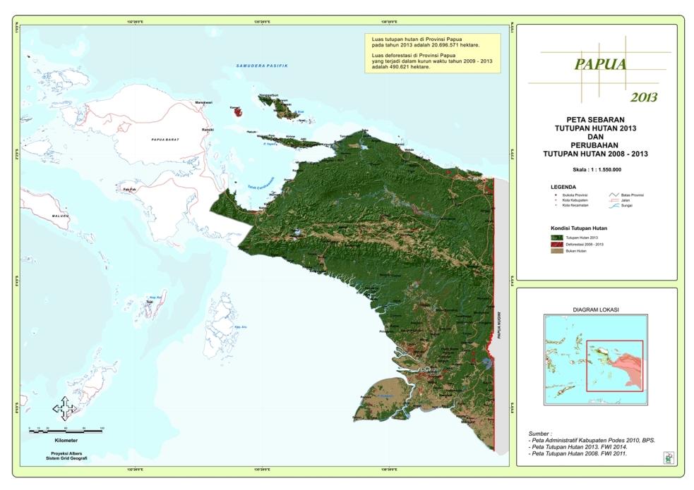 Peta Sebaran Tutupan Hutan 2013 dan Perubahan Tutupan Hutan 2009 – 2013 Propinsi Papua
