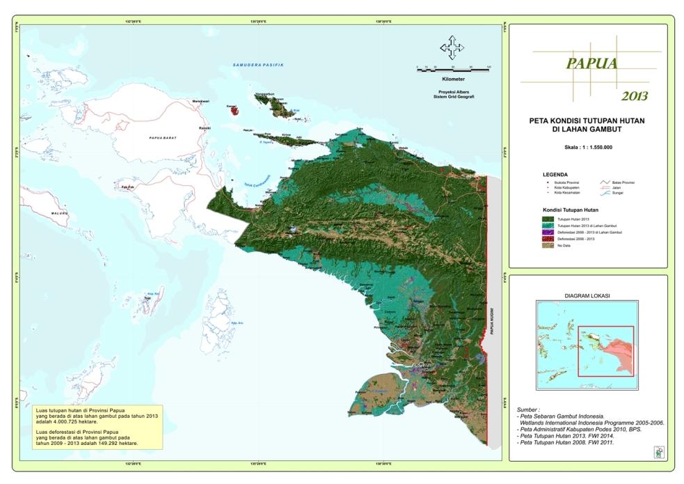 Peta Kondisi Tutupan Hutan di Lahan Gambut Propinsi Papua