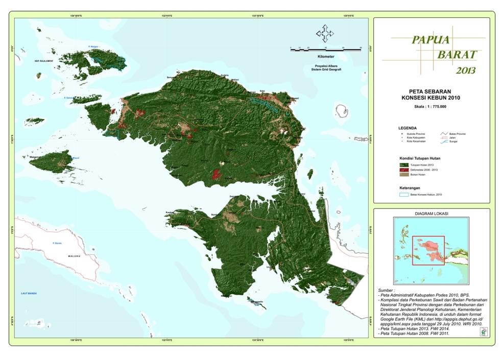 Peta Sebaran Konsesi Perkebunan 2010 Propinsi  Papua Barat
