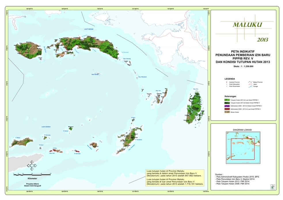 Peta Indikatif Penundaan Pemberian Izin Baru PIPPIB Rev. V dan Kondisi Tutupan Hutan 2013 Propinsi  Maluku