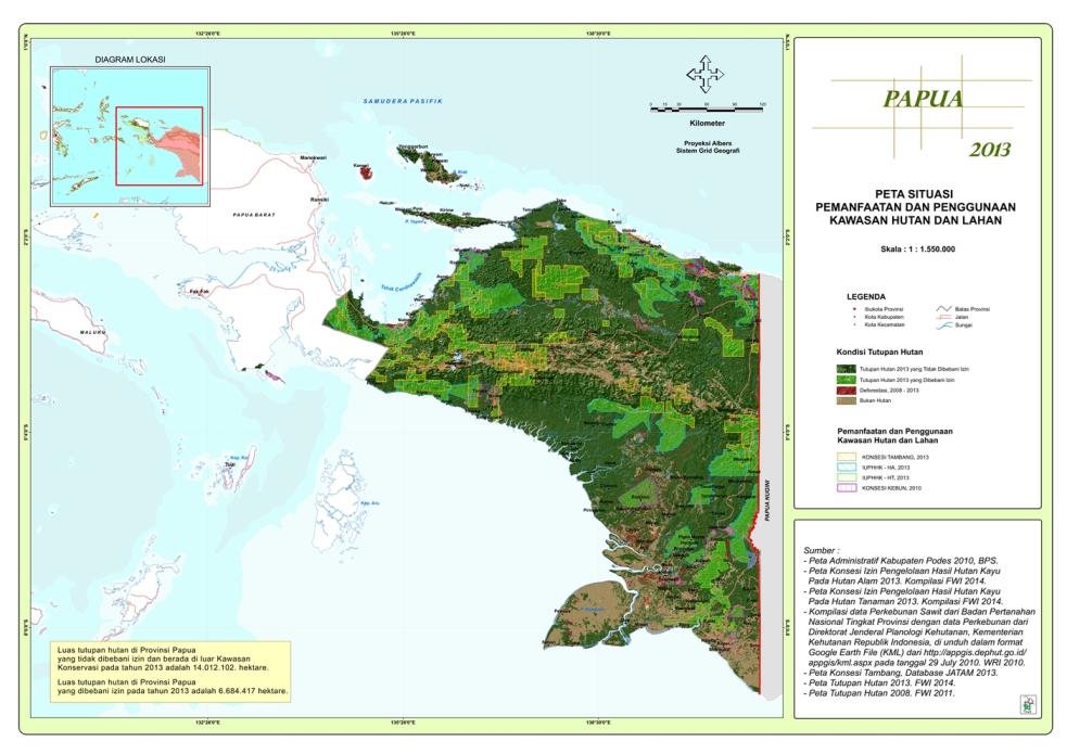 Peta Situasi Pemanfaatan dan Penggunaan Kawasan Hutan dan Lahan Propinsi Papua