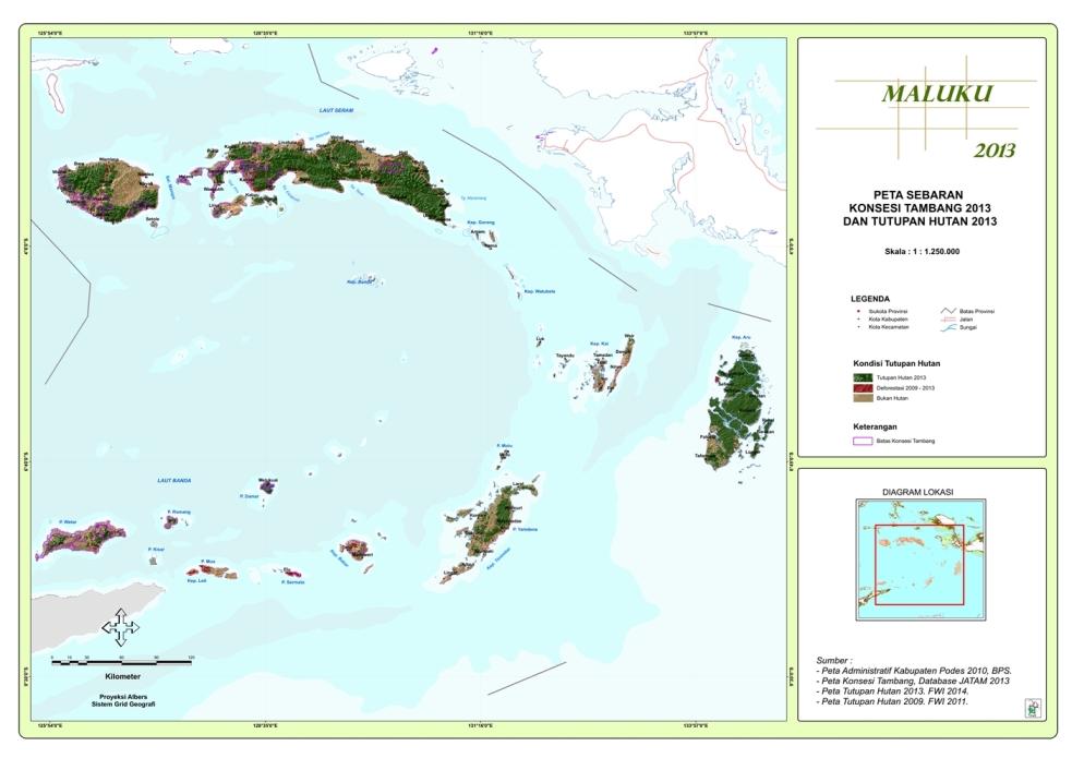 Peta Sebaran Konsesi Tambang 2013 dan Tutupan Hutan 2013 Propinsi  Maluku