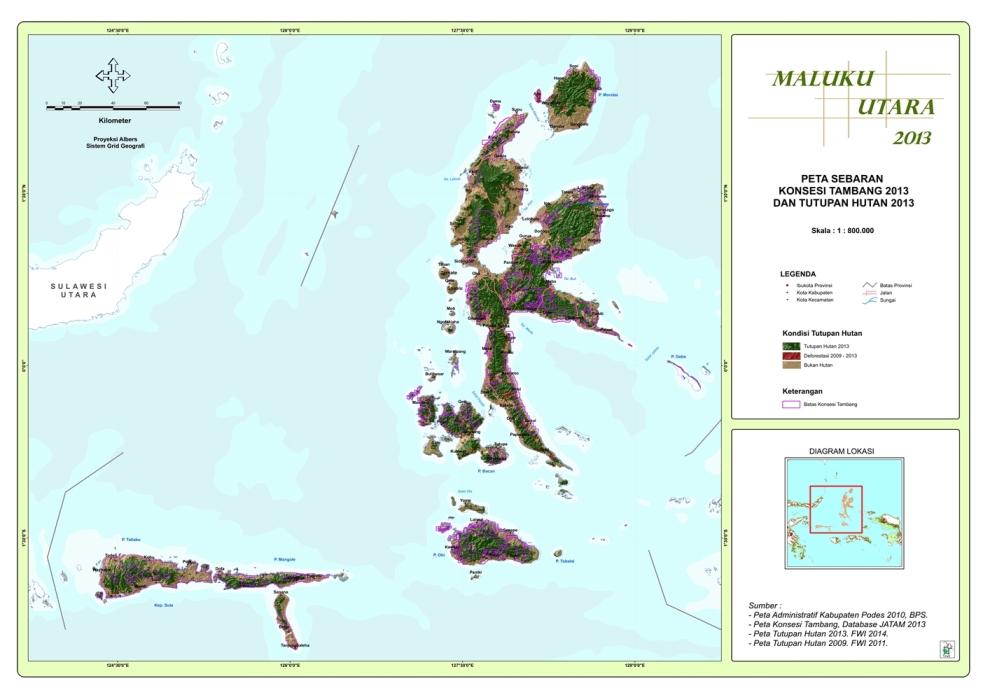 Peta Sebaran Konsesi Tambang 2013 dan Tutupan Hutan 2013 Propinsi  Maluku utara