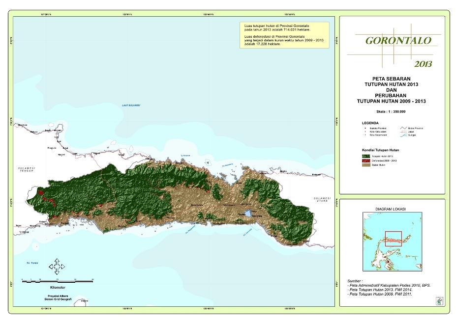Peta Sebaran Tutupan Hutan 2013 dan Perubahan Tutupan Hutan 2009 – 2013 Provinsi  Gorontalo