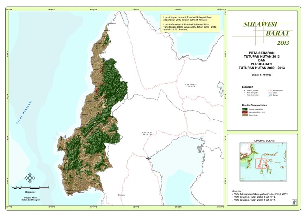 Peta Sebaran Tutupan Hutan 2013 dan Perubahan Tutupan Hutan 2009 – 2013 Provinsi  Sulawesi Barat