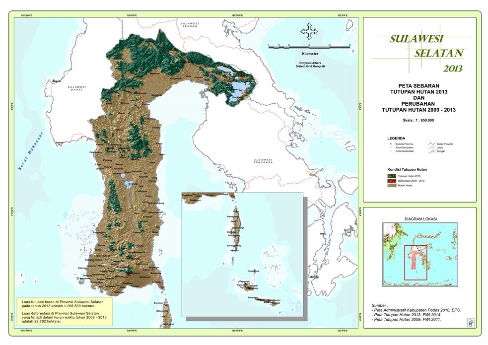 Peta Sebaran Tutupan Hutan 2013 dan Perubahan Tutupan Hutan 2009 – 2013 Provinsi  Sulawesi Selatan
