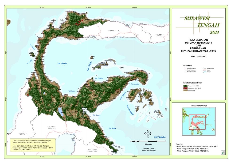 Peta Sebaran Tutupan Hutan 2013 dan Perubahan Tutupan Hutan 2009 – 2013 Provinsi  Sulawesi Tengah