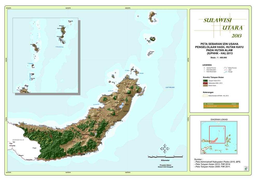 Peta Sebaran Izin Usaha Pengelolaan Hasil Hutan Kayu pada Hutan Alam (IUPHHK – HA) 2013 Provinsi  Sulawesi Utara