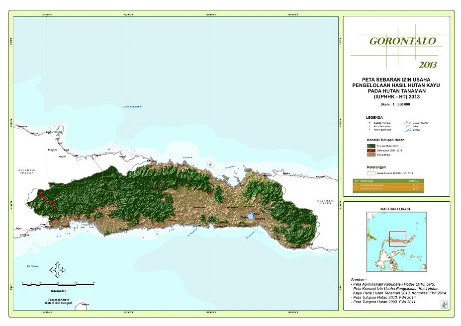 Peta Sebaran Izin Usaha Pengelolaan Hasil Hutan Kayu pada Hutan Tanaman (IUPHHK – HT) 2013 Provinsi  Gorontalo
