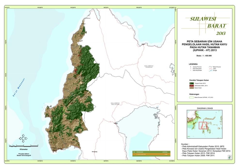 Peta Sebaran Izin Usaha Pengelolaan Hasil Hutan Kayu pada Hutan Tanaman (IUPHHK – HT) 2013 Provinsi  Sulawesi Barat