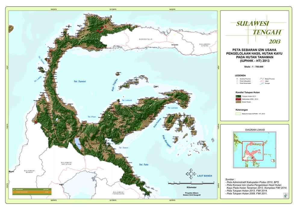 Peta Sebaran Izin Usaha Pengelolaan Hasil Hutan Kayu pada Hutan Tanaman (IUPHHK – HT) 2013 Provinsi  Sulawesi Tengah