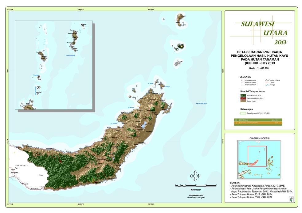 Peta Sebaran Izin Usaha Pengelolaan Hasil Hutan Kayu pada Hutan Tanaman (IUPHHK – HT) 2013 Provinsi  Sulawesi Utara