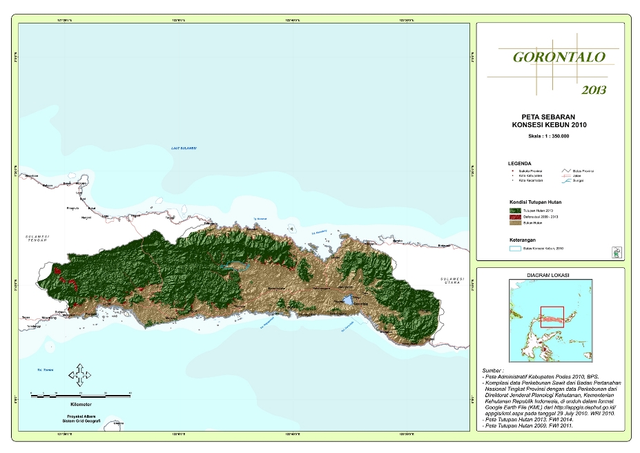 Peta Sebaran Konsesi Perkebunan 2010 Provinsi  Gorontalo