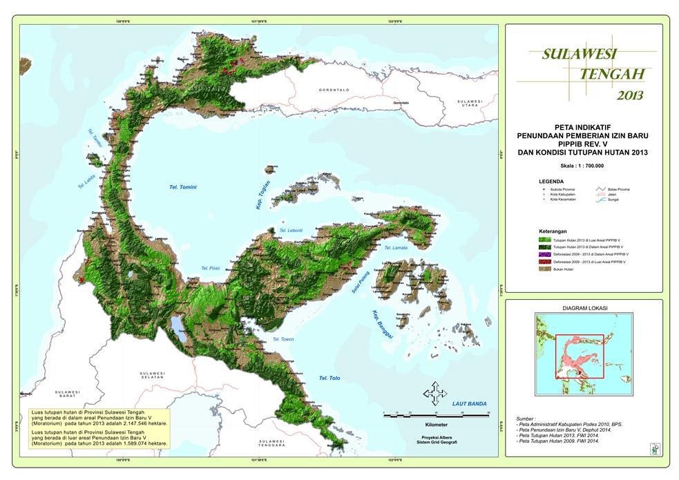 Peta Indikatif Penundaan Pemberian Izin Baru PIPPIB Rev. V dan Kondisi Tutupan Hutan 2013 Provinsi  Sulawesi Tengah