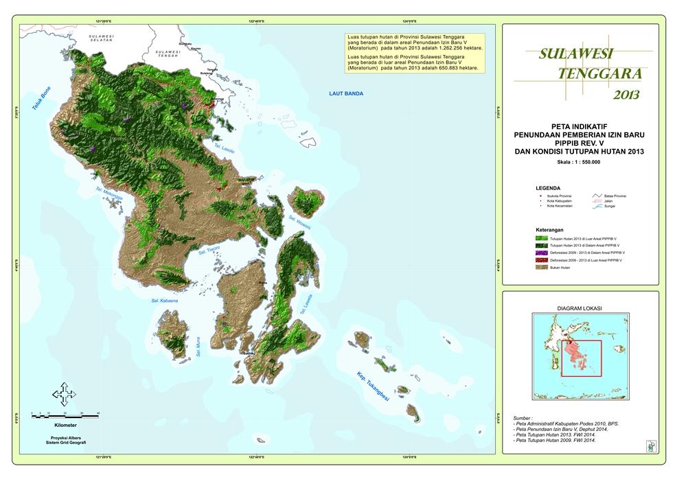 Peta Indikatif Penundaan Pemberian Izin Baru PIPPIB Rev. V dan Kondisi Tutupan Hutan 2013 Provinsi  Sulawesi Tenggara
