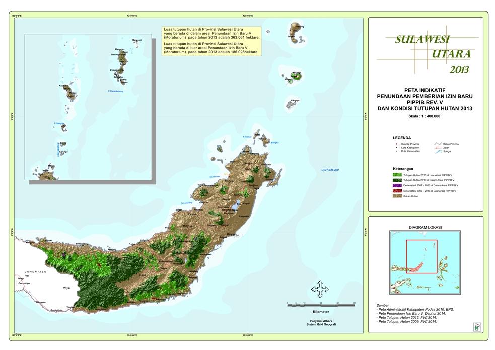 Peta Indikatif Penundaan Pemberian Izin Baru PIPPIB Rev. V dan Kondisi Tutupan Hutan 2013 Provinsi  Sulawesi Utara