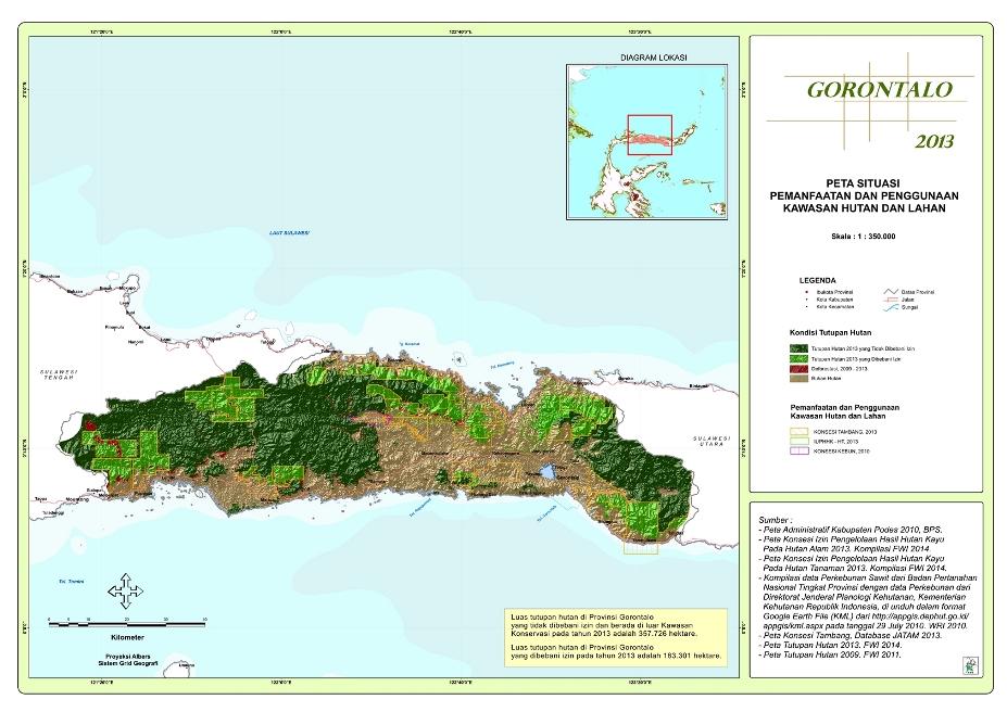 Peta Situasi Pemanfaatan dan Penggunaan Kawasan Hutan dan Lahan Provinsi  Gorontalo