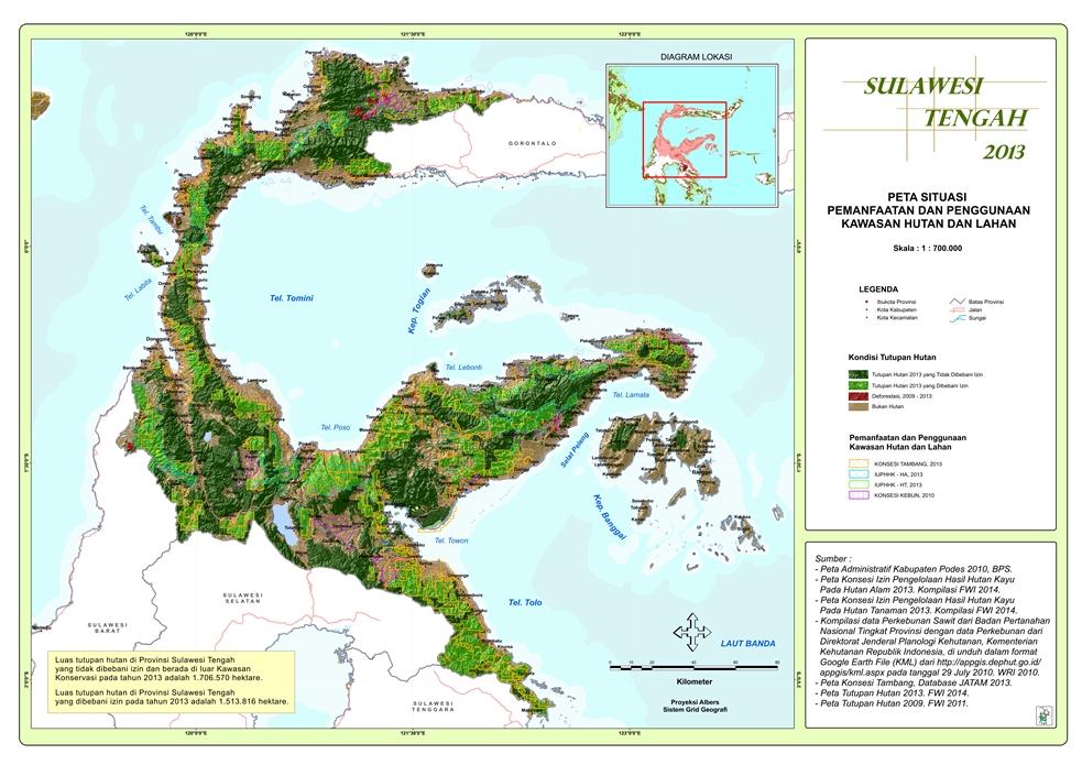 Peta Situasi Pemanfaatan dan Penggunaan Kawasan Hutan dan Lahan Provinsi  Sulawesi Tengah