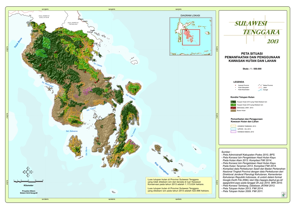 Peta Situasi Pemanfaatan dan Penggunaan Kawasan Hutan dan Lahan Provinsi  Sulawesi Tenggara