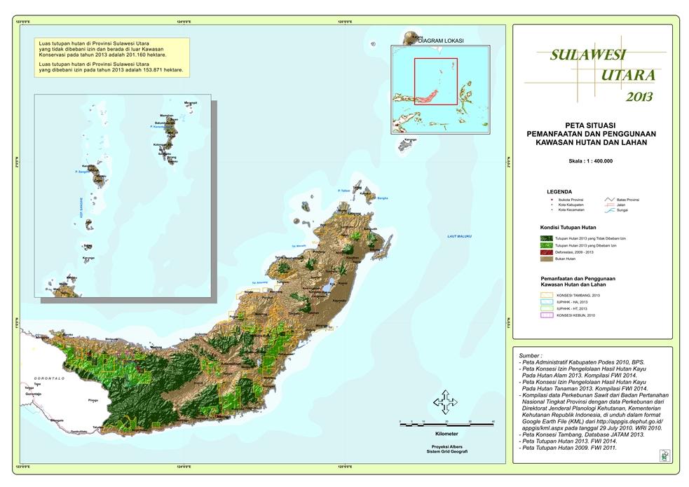 Peta Situasi Pemanfaatan dan Penggunaan Kawasan Hutan dan Lahan Provinsi  Sulawesi Utara