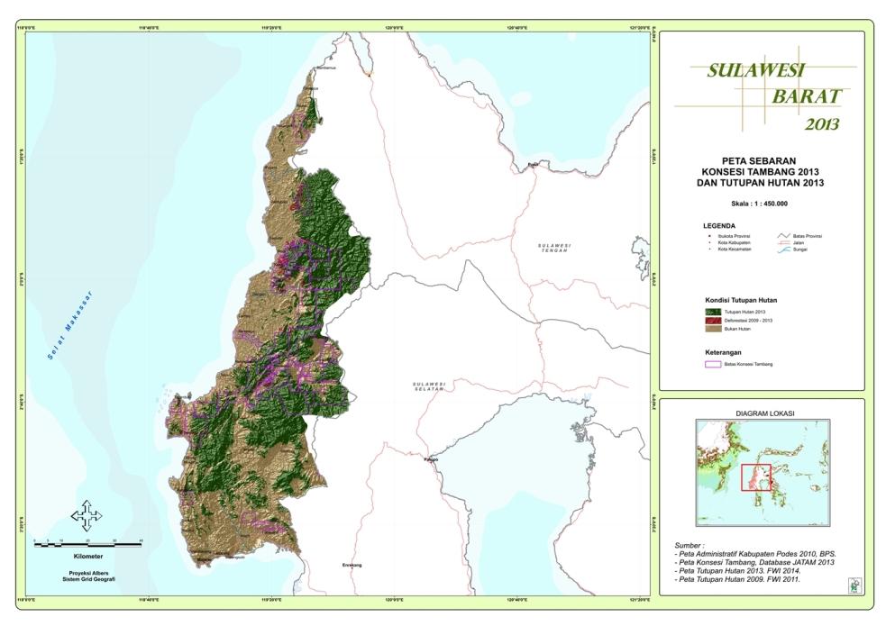 Peta Sebaran Konsesi Tambang 2013 dan Tutupan Hutan 2013 Provinsi  Sulawesi Barat