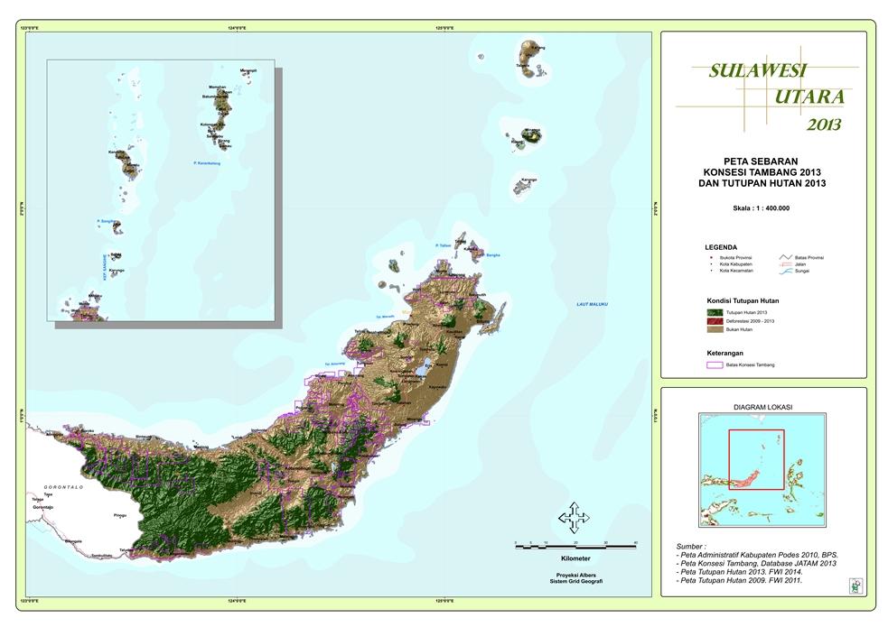 Peta Sebaran Konsesi Tambang 2013 dan Tutupan Hutan 2013 Provinsi  Sulawesi Utara