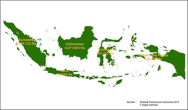 Sebaran Areal Tanaman Kelapa Sawit di Indonesia