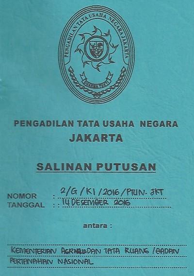 Putusan PTUN atas Sengketa Informasi antara FWI dg Kementerian ATRuang/BPN